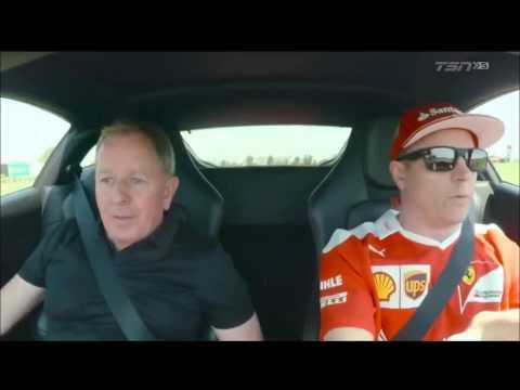 Kimi Raikkonen and Martin Brundle drive a Ferrari 488 in Fiorano