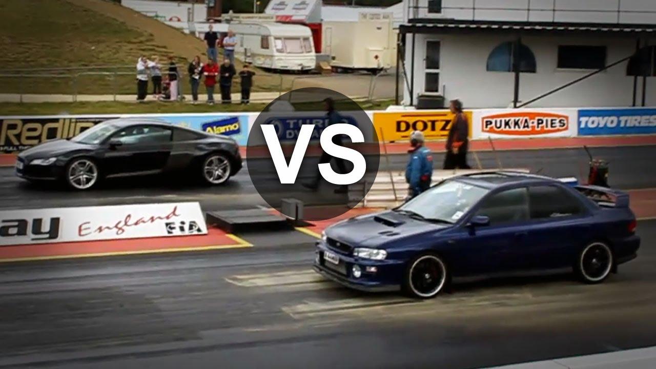 Subaru Impreza WRX STI Vs Audi R8 BMW M3 E46 Drag Race  YouTube