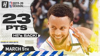 Stephen Curry RETURNS! 23 Pts Full Highlights | Raptors vs Warriors | March 5, 2020