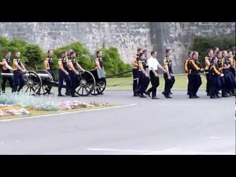 Britannia Royal Naval College Field Gun rehearsal - Marching the gun out 2011
