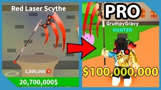 I Bought The Red Laser Scythe And Became A Millionaire In Roblox Zombie Hunting Simulator