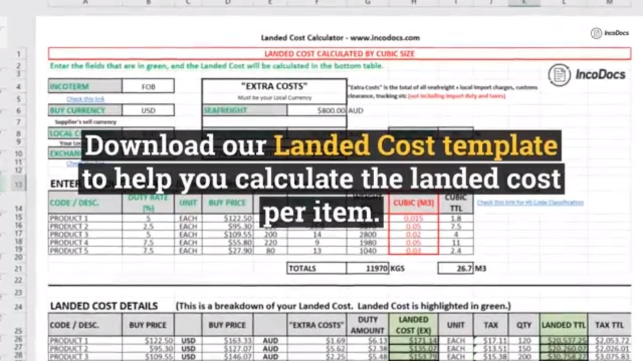 calculate landed cost excel template for import export inc freight