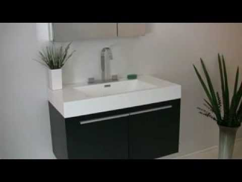 Fresca Vista Black Wall Mounted Bathroom Vanity w/ Medicine Cabinet & Faucet