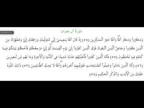 SURAH AL-E-IMRAN #AYAT 54-58: 30th January 2019
