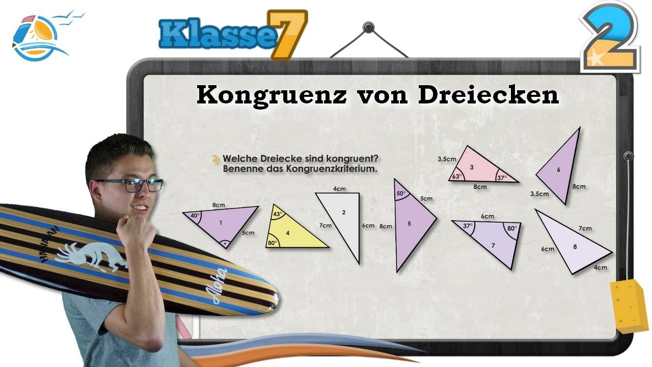 Kongruenz von Dreiecken || Klasse 7 ☆ Übung 2 - YouTube