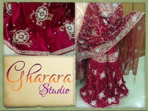 b2b6602727 Silk Gharara with Cutwork and swaroski work || Gharara Studio - YouTube