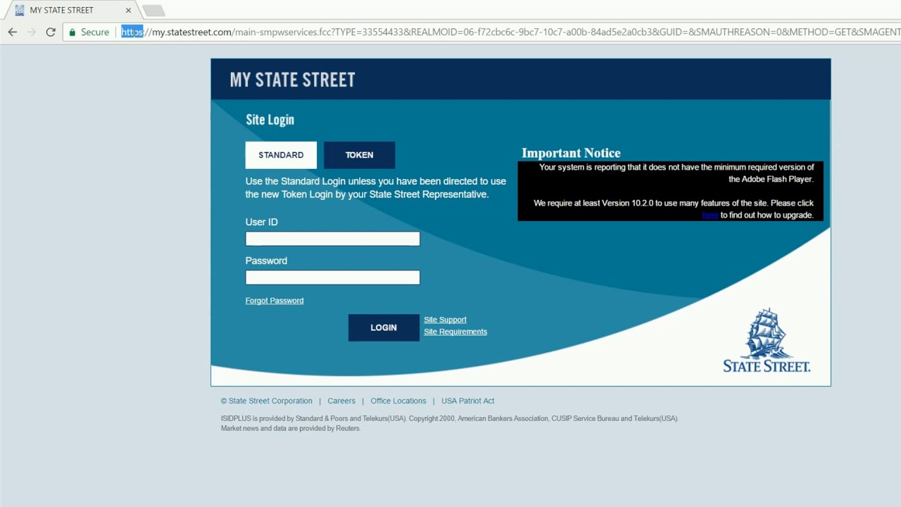 login into State Street Corp online banking account united states of ...