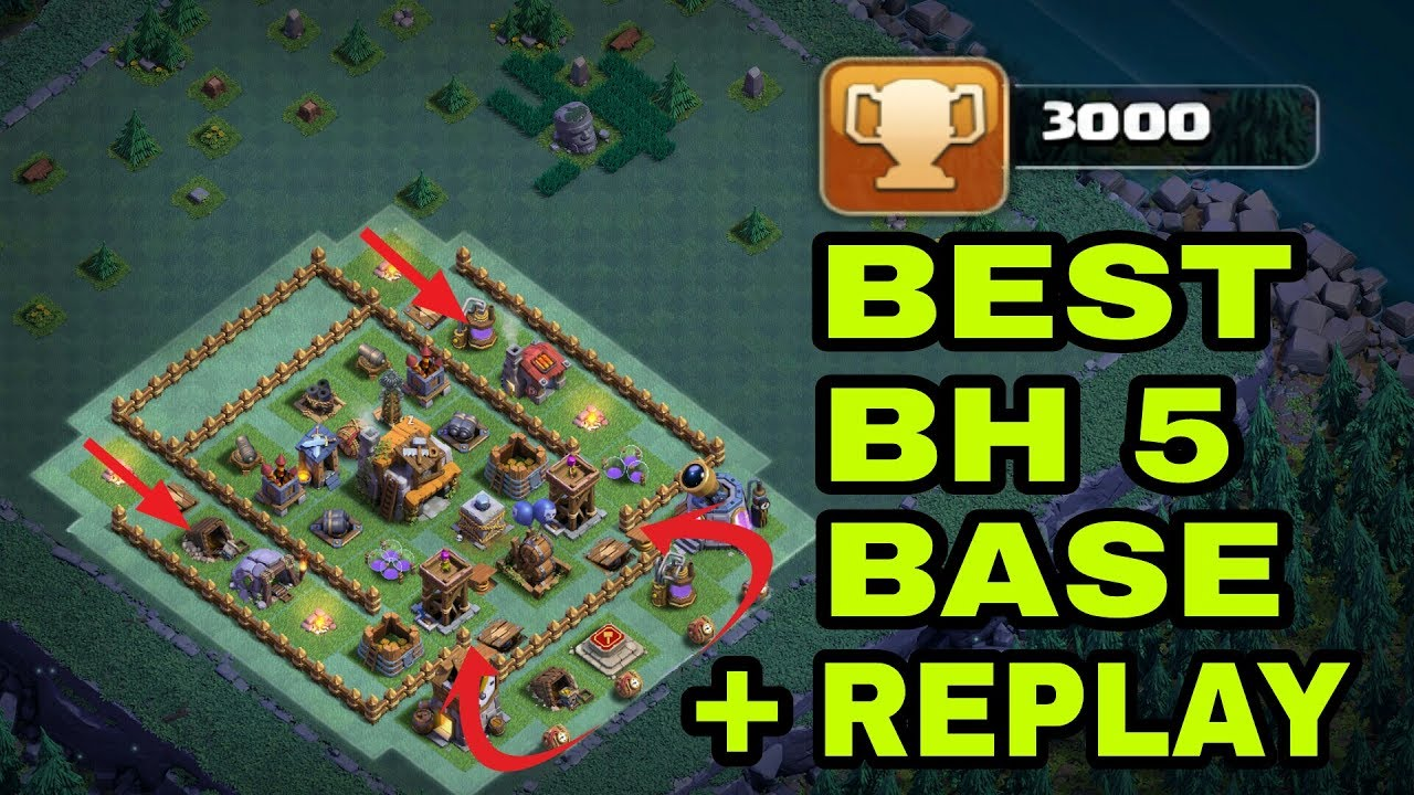 Bh5 Builder Hall 5 Best Base With Replays Bh5 Trophy
