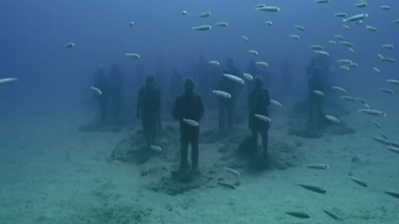 Europe 39 s first underwater museum opens in spain youtube for Spain underwater museum