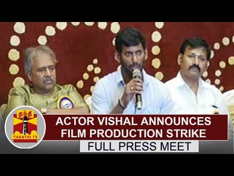 Actor Vishal announces Film Production strike | Full Press Meet | Thanthi TV