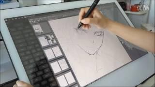 Yiynova MVP22U+DT demo painting Clip Studio Paint
