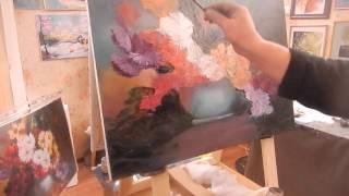 Игорь Сахаров , букет в вазе, научиться рисовать цветы маслом