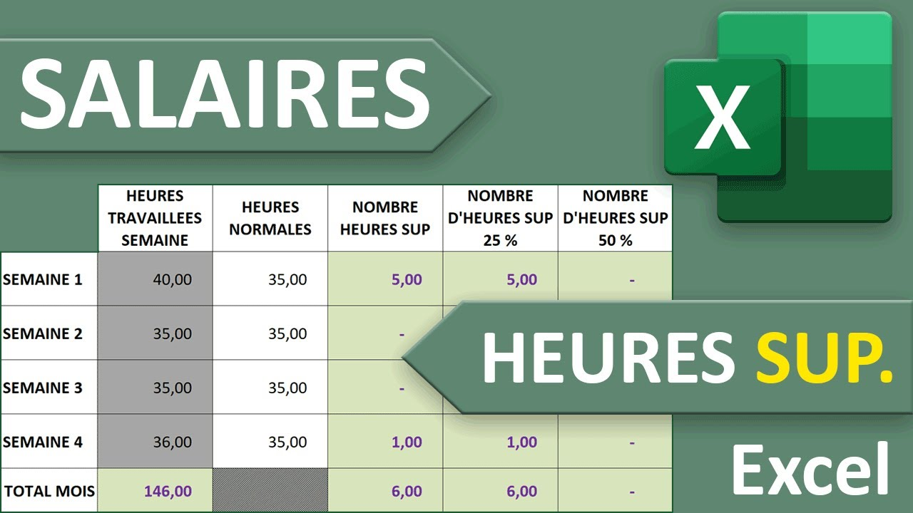 Salaires Et Heures Supplementaires Majorees Excel Youtube