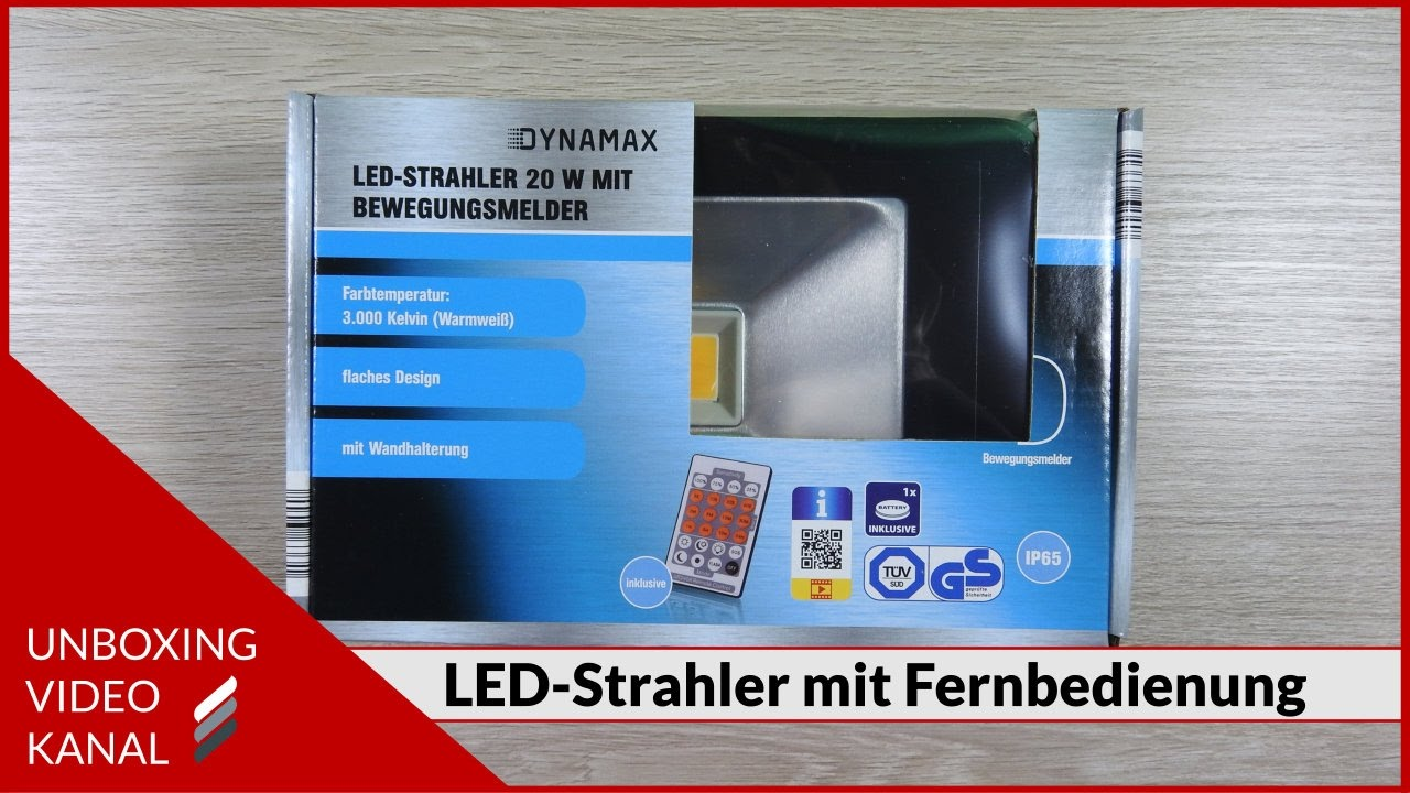 led strahler mit bewegungsmelder und fernbedienung unboxing video youtube. Black Bedroom Furniture Sets. Home Design Ideas