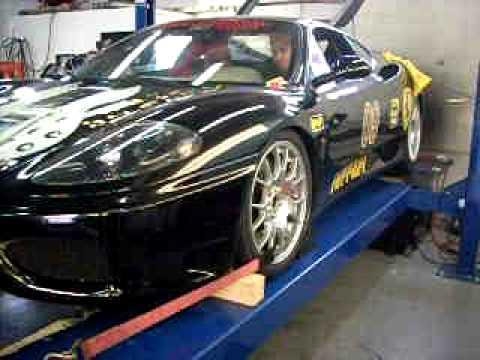 Ferrari 360 dyno exhaust flames pulling 2nd thru 6th