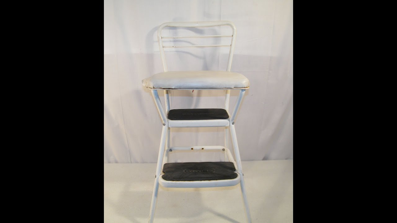 Vintage Retro White Cosco Flip Up Style Stepstool