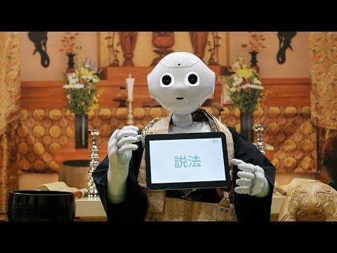 Robot priest programmed to conduct funeral ceremonies at Life Ending Industry EXPO 2017 in Japan
