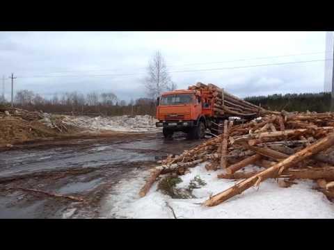 Работа на хлыстовозе. Весенняя вывозка леса по болотам в Архангельской области.