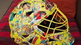 How to make a Goalie Hockey Helmet collage.