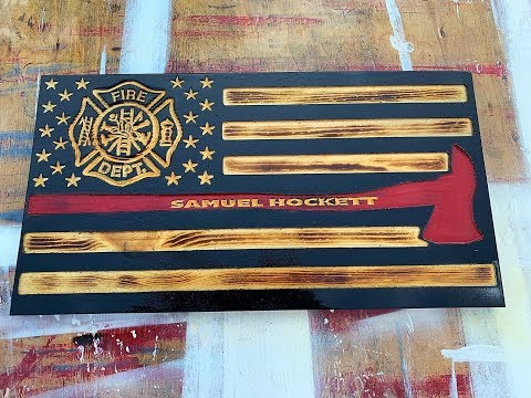 Firefighter Axe Wood Flag