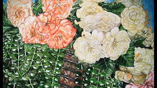 SPLENDID- TUBEROSE BEGONIA -Acrylic Floral Painting By HSIN LIN