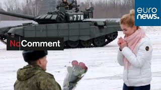 Tanks for the offer: Russian soldier proposes as armed vehicles make heart shape