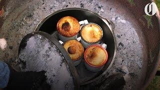 Pineapple mug cakes made over a campfire