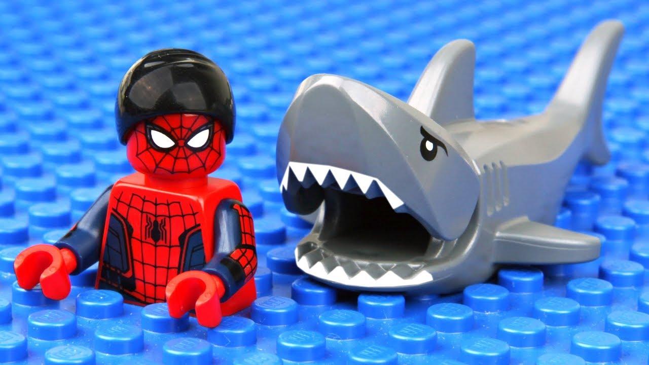 Lego Spider Man Shark Attack Youtube