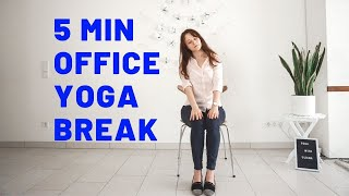 5 min YOGA STRETCH AT YOUR DESK | Chair Yoga | No Mat Yoga | Yoga with Uliana