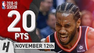 Kawhi Leonard Full Highlights Raptors vs Pelicans 2018.11.12 - 20 Pts, 2 Ast, 6 Rebounds!