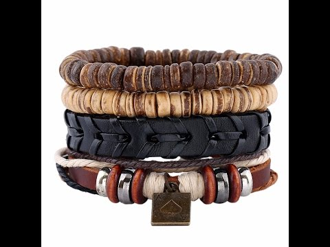 Punk Style Vintage Bracelet Set Leather Coconut and Hemp Cord