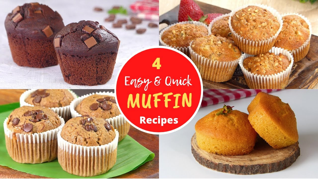 4 Easy Homemade Muffins by Tiffin Box | Easy Cupcakes Recipes