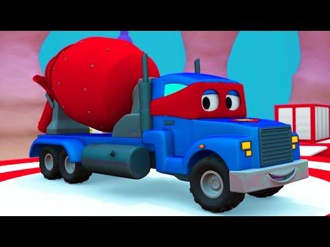 Carl o Super Caminhão e Caminhão de concreto na Cidade do Carro | Desenho animado para crianças