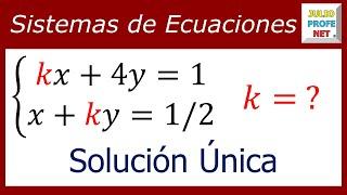 VALOR DE UNA CONSTANTE PARA SISTEMA DE ECUACIONES 2×2 CON SOLUCIÓN ÚNICA thumbnail