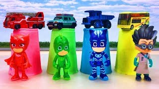 Learn Colors with Pj Masks and car Toys for kids キネティックサンドをグルグルするぞ!かき混ぜ動画!Gizmone