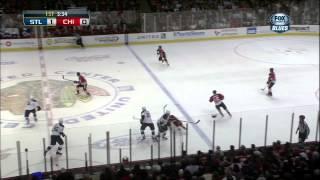 Adam Cracknell flubber bounce goal 1-0 April 4 2013 St. Louis Blues vs Chicago Blackhawks NHL