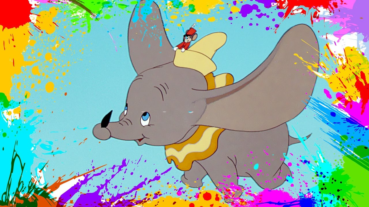 painting dumbo coloring book pages for kids paint and color dumbo