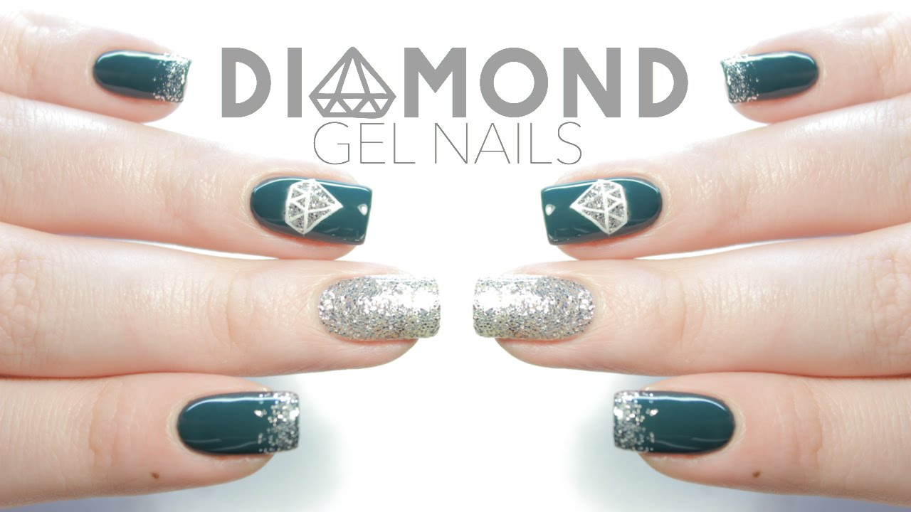 Easy Diamond Gel Nail Art for Beginners | New Year\'s Eve Nails - YouTube