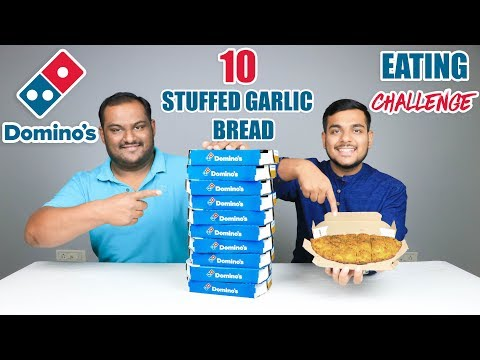 DOMINO'S STUFFED GARLIC BREAD EATING CHALLENGE | Cheesy Bread Eating Competition | Food Challenge