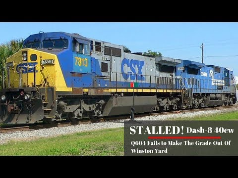 Stalled! CSX Dash 8 Struggles out of Winston Yard