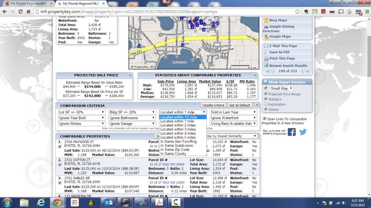 IMapp  Creating Comparables Or A Mini CMA In IMapp VTB - Florida map eustis