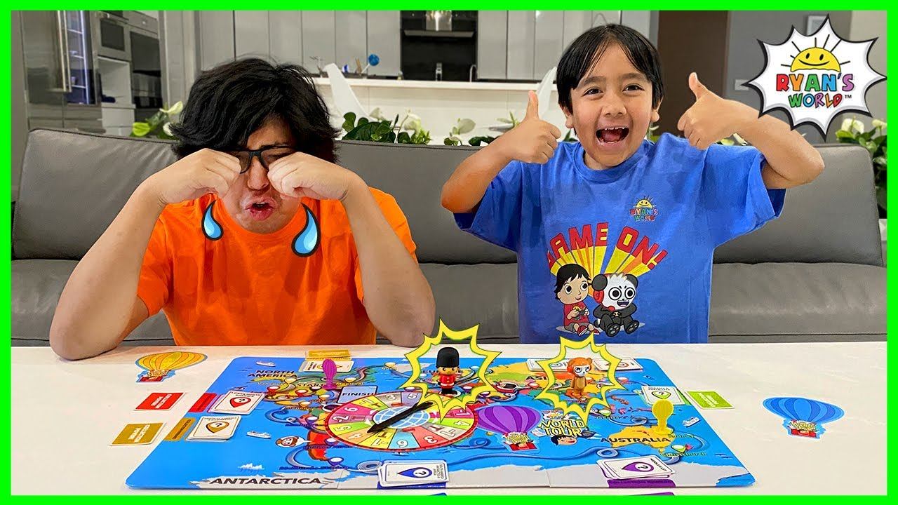 Ryan's World Tour Board Game Family fun with Ryan vs Daddy!!!