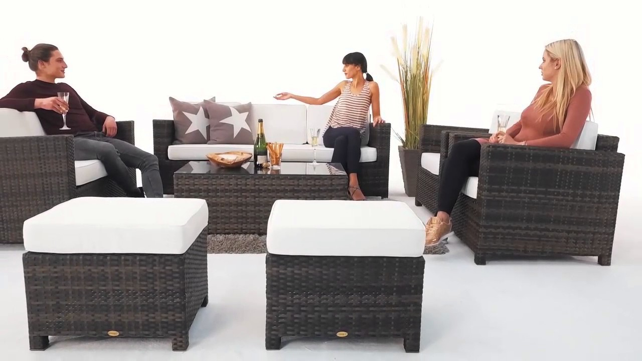 Rattanmöbel Lounge Westham Rattan Lounge Deluxe Braun