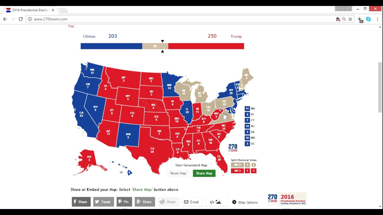 FINAL Electoral Map Prediction Trump Vs Clinton - Final us electoral map 2016
