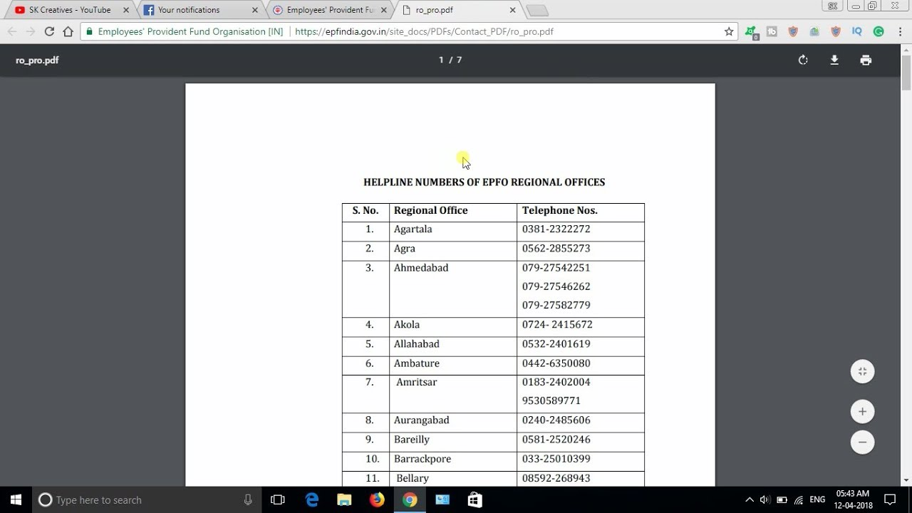 PF Support / Helpline Numbers of All Indian PF office contact numbers