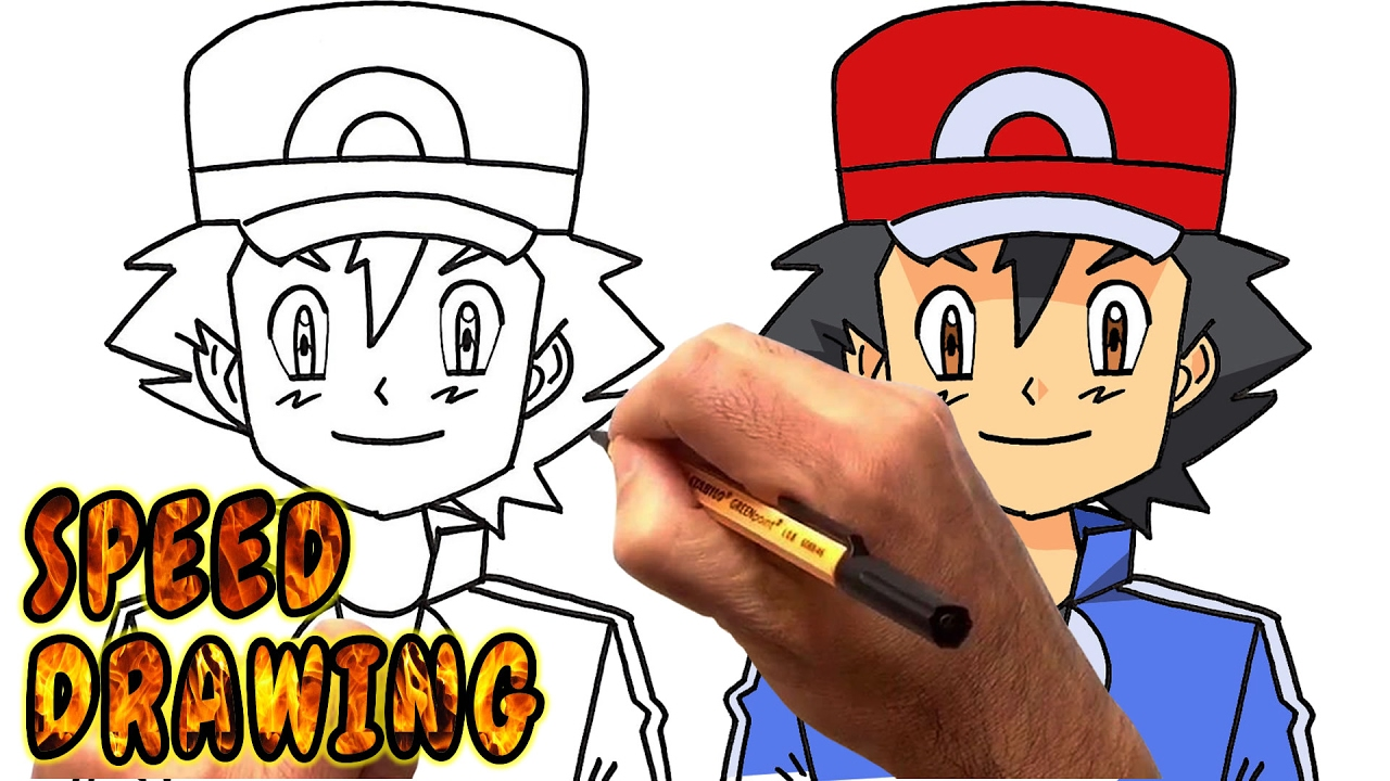 How to Draw Ash Ketchum from Pokemon (Speed Drawing) - YouTube