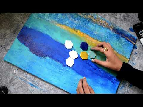 How to texture canvas//Acrylic painting//Acrylic Abstract Painting// Textured  canvas