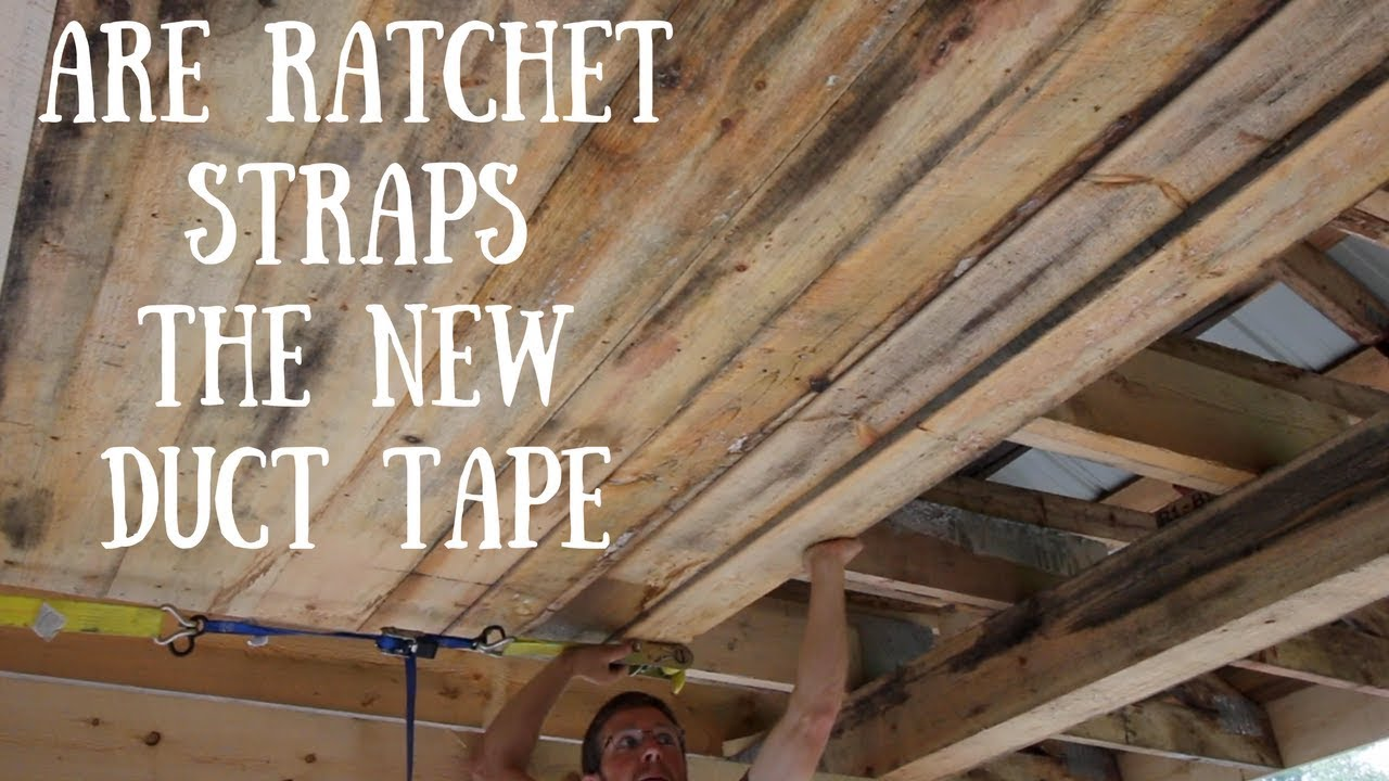 Installing A Rough Sawn Lumber Ceiling With Ratchet Straps Youtube