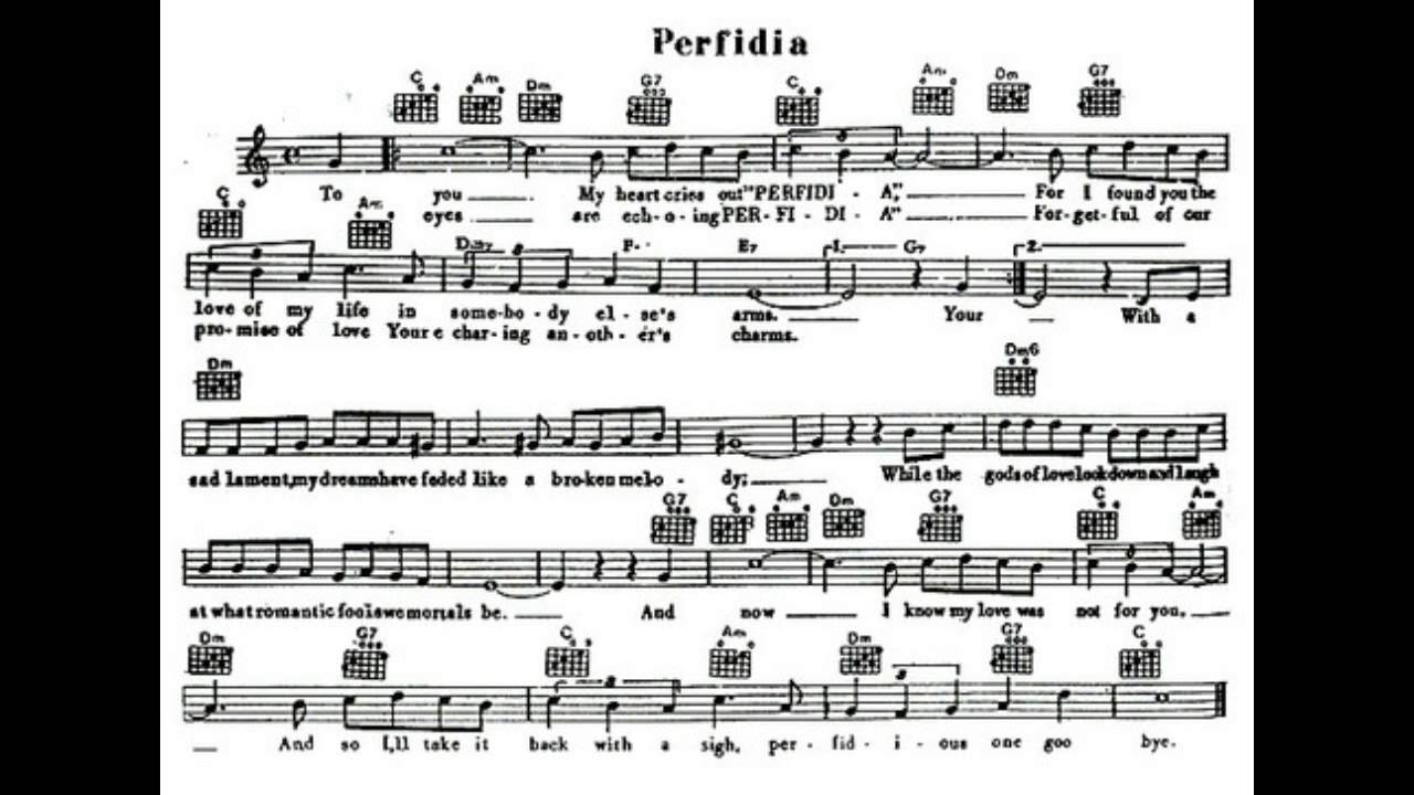 Perfidia-Julie London- sing along/ sheet music Chords