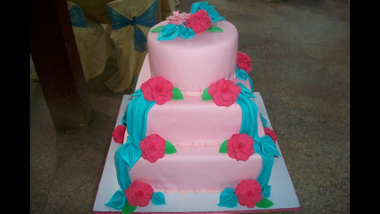 Pink And Turquoise Blue Wedding Cake Flv